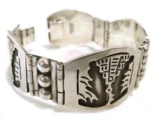 TAXCO .925 Sterling Silver Pyramids Link Bracelet Handcrafted from Mexico 55.3gr