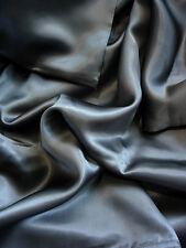 100% mulberry silk charmeuse flat top sheet Queen Dark Gray Grey seamless