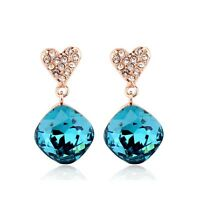 18K Rose Gold GP Made With Swarovski Crystal Heart Diamond Shaped Stud Earrings