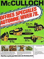 PUBLICITE ADVERTISING 025  1978  MC CULLOCH    Tronçonneuse