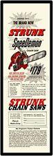 """STRUNK CHAINSAW BEST SPEEDEMON AD  6"""" x 18"""" ALUMINUM Sign"""