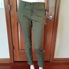 Rag & Bone Women Jean Skinny Green Ollie Army Lamb Leather Trim $242 Size 27 New