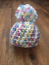 Rainbow Baby pom pom hat, 0 - 3 months, Newborn photography prop, winter hat