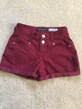 Areopostale Size 000 Red Maroon High Waisted Shorty Zip Button Closure Cuffed