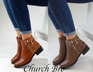 New Womens Flat Ankle Boots Casual Buckle Side Zip Low Heel UK Size 3