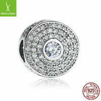 Authentic 925 Silver Pave CZ Stone Crystal Round Bead Fit Charm Chain & Necklace
