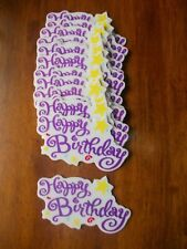 """LARGE 5""""  HAPPY BIRTHDAY CAKE TOPPER WORDS LOT OF 14 PIECE NEW PURPLE WITH STARS"""
