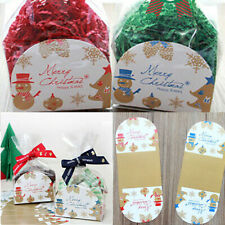 Party Gift Bags Gusset Blue Red Bell Christmas Cellophane Favour Snowman