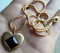 collier chaîne pendentif bijou vintage cœur couleur or pierre noire amour 4183