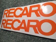 ORANGE RECARO DECALS STICKERS 20CM (PAIR) ANY COLOUR