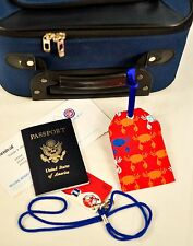 """hand crafted fabric luggage tags set of 2 secure info 3.5"""" X 5.5"""" brand new"""