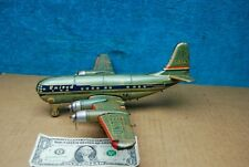 1950's Vintage Japan Tin Litho Friction Battery Op Airplane Toy Boeing United