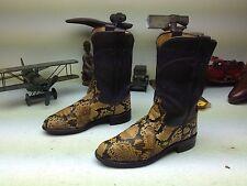 DISTRESSED JUSTIN AMBER GOLD PYTHON SNAKESKIN WESTERN COWBOY ROPER BOOTS 6.5 C