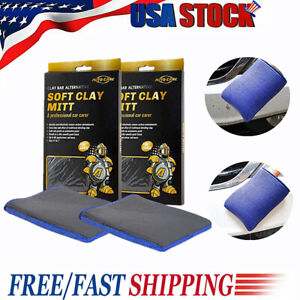 2 PACK Microfiber Clay Bar Mitt Car Care Detailing Auto Cleaning Wash Clay Glove