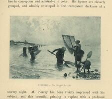 ANTIQUE FISHERWOMEN GIRL FISHING OCEAN LOW TIDE OCEAN SHORE NETS MINIATURE PRINT