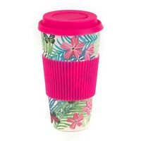 16oz Pink Eco-Friendly Reusable Bamboo Geometric Diamond Travel Mug Lid w// Grip
