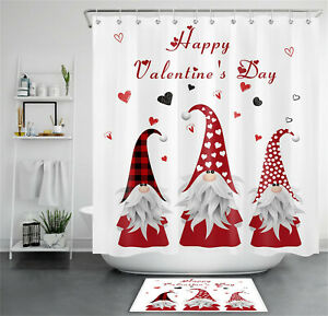 Happy Valentine's Day Cute Gnomes Love Hearts Shower Curtain Set Bathroom Decor