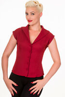 Bordeaux Rockabilly Vintage 50s Retro Shirt Blouse Button Top By BANNED Apparel