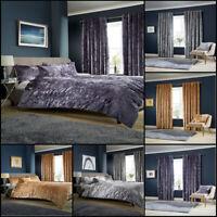 Luxury Crushed Velvet Bedding Set Velvet Curtains And Cushion Double SuperKing