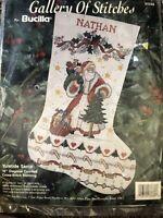 Bucilla Yuletide Santa Cross Stitch Christmas Stocking Kit 33336 1993 Vintage