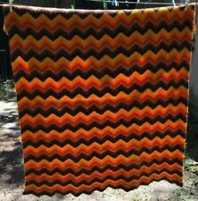 Vtg Chevron Taupe Brown Orange Wool Throw 45 x 48 Blanket Afghan Couch Cover Lap