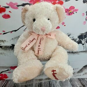 "14"" Russ Plush Sweet As Honey Pink Teddy Bear Beanie Stuffed Animal Valentine's"