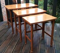 Vintage 1970s Nest of 3 Tables in (Wipe-Down) Formica Woodgrain. Families & Kids