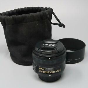 Nikon AF-S Nikkor 50mm f/1.8G Lens - Plus Lens Hood & Bag