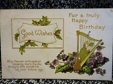 Post Card Truly Happy Birthday Floral Green 1c Franklin Stamp 1911 Vintage