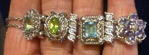 Klein KLJCI 14k White gold Slide Bracelet~6 Charms~ Diamonds~Gemstones~18.6 Gram