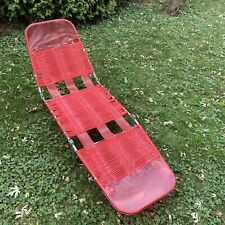 Vintage Aluminum Lawn Lounge Chair Beach Patio Chaise Red Vinyl Tube Adjustable