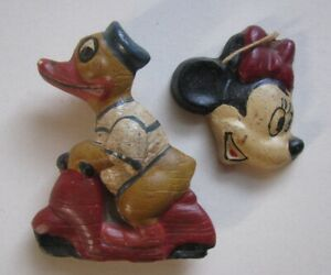 VINTAGE CIRCA 1930'S DONALD DUCK SCOOTER VESPA BEESWAX MINNIE MOUSE CHRISTMAS