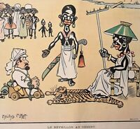African Tribes Cannibal Stereotype Cartoon - orig 1901 French Humor Magazine