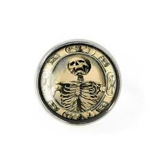 Gothic Victorian Memento Mori Death Skeleton Silver Horror Mourning Glass Ring