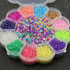MultiColor 2mm Glass Seed Spacer Small Round Beads Box Set For Jewelry Making OZ