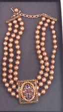 "Heidi Daus ""Once Upon A Time"" Triple Strand Gold Pearl & Swarovski Necklace NIB"