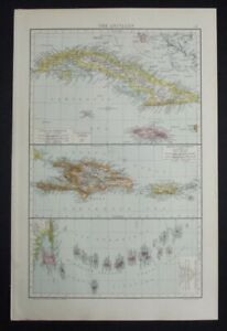 Antique Map: The Antilles, Caribbean & West Indies, The Universal Atlas, 1893
