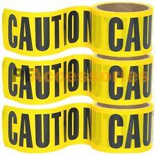 "3 Rolls 100 FT x 3"" inch CAUTION Barrier Tape Yellow Waterproof Vinyl Ribbon"