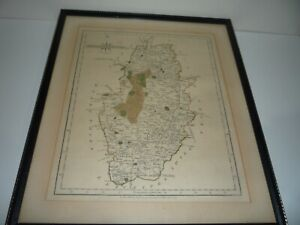 ANTIQUE ORIGINAL COLOURED ENGRAVING OF NOTTINGHAMSHIRE DATED 1793 BY J. CARY