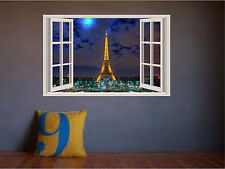 Eiffel Tower Paris Sunset at Night Window View Color Wall Sticker Wall Mural 3ft