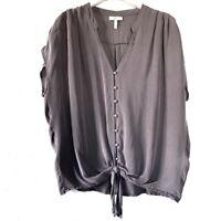 "Joie Women's Gray ""Baxter"" Tiefront Button Down Silk Blouse Shirt Top Small"