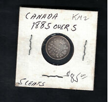 1885 over 5 Canada 5 Cents # KM 2 Silver Coin