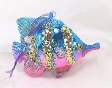 Fish Ornament Colorful Glass w/ Sparkles Holiday or Home Decor A
