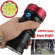 18000 lumens 9x XML T6 LED linterna antorcha lámpara de trabajo de caza táctica