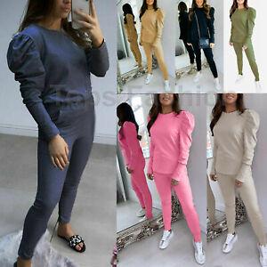 Women Loungewear Tracksuit Ladies Lounge Wear Tracksuits 2Pcs Suit Top Bottom UK
