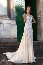 2017 Champagne Lace Appliques Wedding Dress Sheer A Line Vintage Bridal Gown New