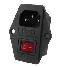 Black Plastic Housing AC 250V 15A 3 P C14 Socket w Rocker Switch DT