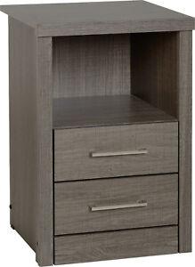 Lisbon 2 Drawer 1 Shelf Bedside Cabinet in Black Wood Grain Effect Veneer