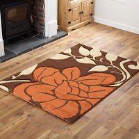 SMALL MEDIUM LARGE EXTRA LARGE MODERN SOFT BROWN TERRA UNIQUE FLOWERY DESIGN RUG