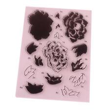 Sellos de silicona transparente 15 un. para Cardmaking Scrapbooking-Flores y las hojas